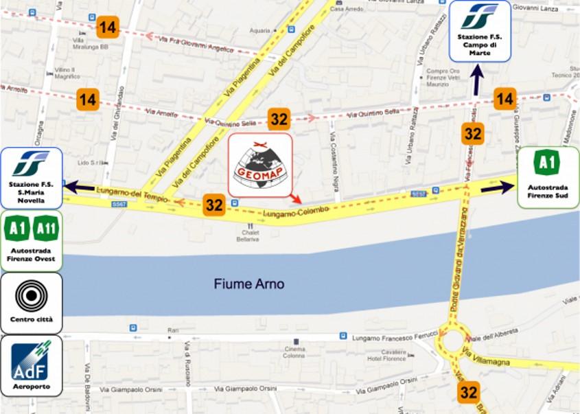Mappa di Firenze con posizione Geomap Srl
